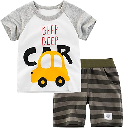 Gorboig Toddler Boy Clothes Summer Outfits Short Sleeve Clothing Set T-Shirt/&Shorts 2 Packs