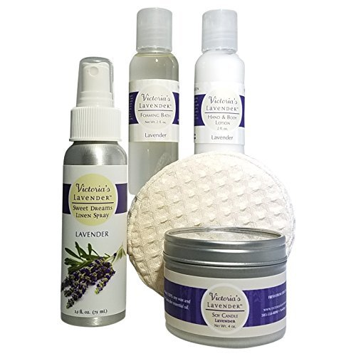 Victoria's Lavender LUXURY LAVENDER AROMATHERAPY TRAVEL GIFT SET with Hand & Body Lotion, Organic Body Wash, Travel Candle, Linen Spray HANDMADE in USA
