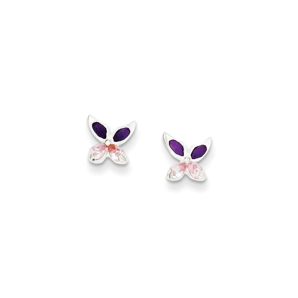 Goldia Sterling Silver Pink CZ Enameled Post Earrings