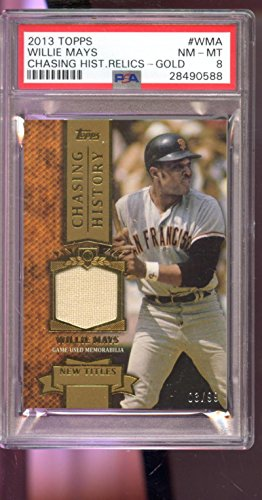 2013 Topps Chasing History Willie Mays Game-Used Jersey Card Graded 8 Worn - PSA/DNA Certified - Baseball Game Used Cards