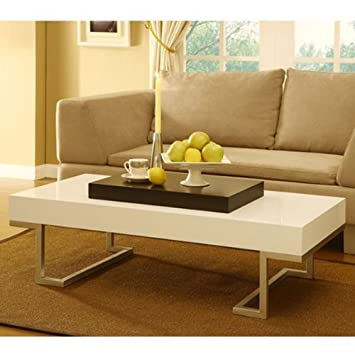 S E White Finish Coffee Table