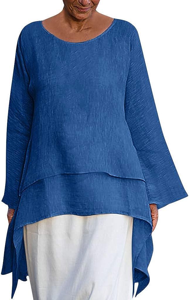 VEZAD Irregular Hem Shirt t Women Fashion Plus Size Casual Linen Top Long Sleeve Crew Neck Blouse