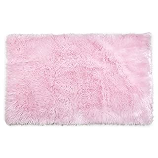 Tadpoles Faux Fur Rug, Pink, 4x6 Feet