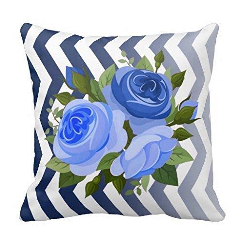 Ombre Chevron Floral Rose Bouquet Navy Blue 18*18 pillow Case