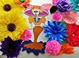 Flower Garland and Large Katrina Bright Beautiful Colors Mexican Fiesta 15 Unique Crepe Paper Flowers and One