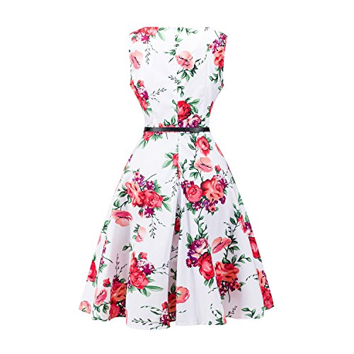NUTEXROL Women's Round-Neck Sleeveless Printed Swing Dress with Belt White1 XL