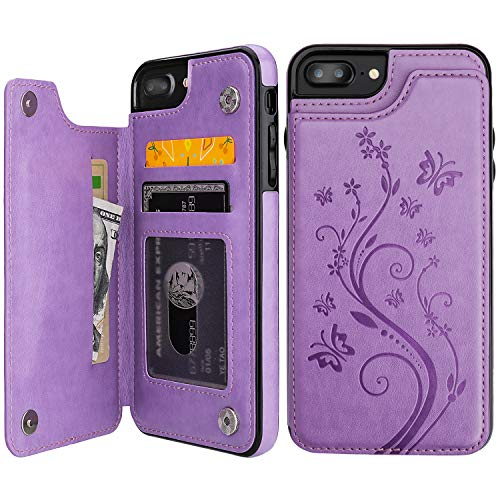 Vaburs iPhone 7 Plus iPhone 8 Plus Case Wallet with Card Holder, Embossed Butterfly Premium PU Leather Double Magnetic Buttons Flip Shockproof Protective Cover for iPhone 7/8 Plus Case (Purple)