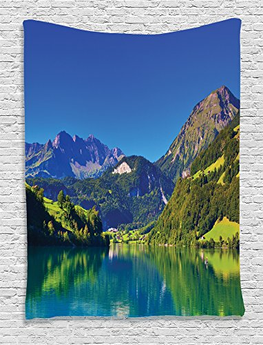 Ambesonne Lakehouse Decor Collection, View of Swiss Alps Mountain Covered with Meadow and Forest with Tranquil Lake Old Village, Bedroom Living Room Dorm Wall Hanging Tapestry, Navy Blue Green Grey (Swiss Art)