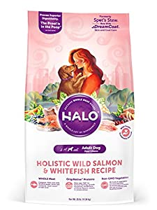 Halo Holistic Dry Dog Food, Wild Salmon and Whitefish Recipe, 25 LB Bag of Natural Dog Food
