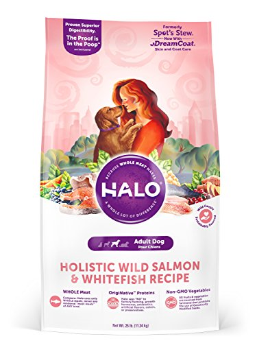 Halo Holistic Dry Dog Food - Wild Salmon and Whitefish Recipe - 25 LB Bag of Natural Dog Food