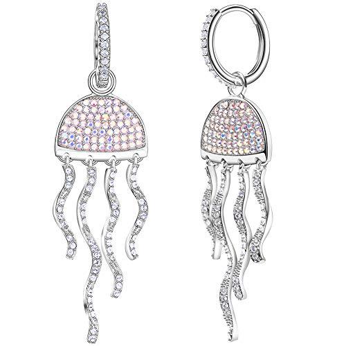 Platinum Plating (Cubic Zirconia Dangle Earrings for Women Platinum Plating Silver Jellyfish Earrings Long Tassel Wavy Earrings with Swarovski Earrings)