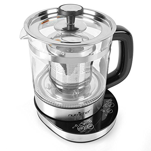 NutriChef Tea & Coffee Electric Glass Kettle with Tea Filter Lid