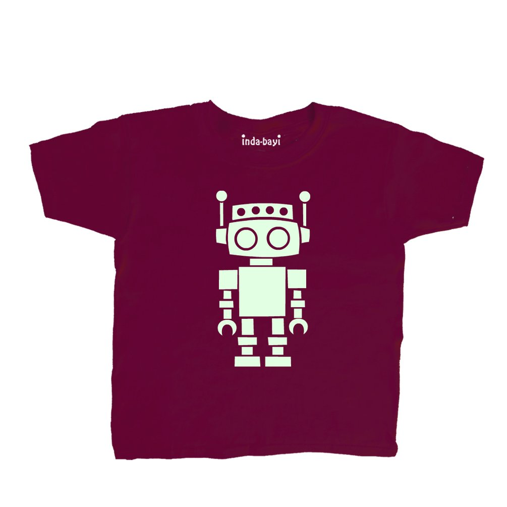 Inda-Bayi Baby-Toddler-Kids Cotton T Shirt - Glow in The Dark Robot