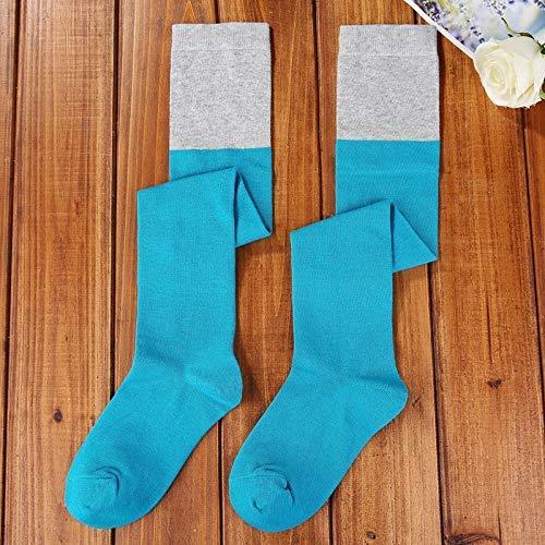 Sopra Ginocchio Blu colore Al Moda Cotone Calzettoni Da In Calze Di Studentesse Alte Scaldamuscoli Blu Pettinato colore Le Abbinare Donna Nero BPORq