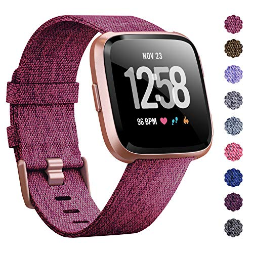KIMILAR Compatible Fitbit Versa Bands, Women Men Large Small Woven Fabric Breathable Accessories Strap Compatible Fitbit Versa Smart -