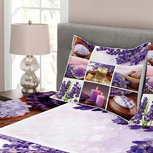 Lunarable Spa Bedspread Set King Size, Lavender Garden Alike Themed Relaxing Candles Stones Herbal Salt Elements Image, Decorative Quilted 3 Piece Coverlet Set with 2 Pillow Shams, Purple and White by Lunarable (Image #1)