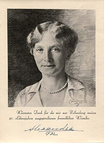Preprinted Notes - Princess Alexandra of Hanover autograph, preprinted thank-you note signed
