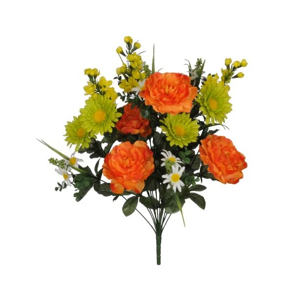 Artificial 22-inch Orange/Green/Yellow Peony/Daisy/Delphinium Bush (Set of 2)