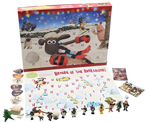 Shaun the Sheep Calendario de Adviento para Ninos Wallace and Gromit Dibujos Animados Incluye Pegatinas Figuritas Rompecabezas Juego de Mesa