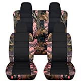 2007-2017 Jeep Compass/Patriot Camo & Black Seat Covers: Pink Real Tree Camouflage - Full Set (19 Prints) Front Buckets & 40/60 Split Rear Bench 2008 2009 2010 2011 2012 2013 2014 2015 2016