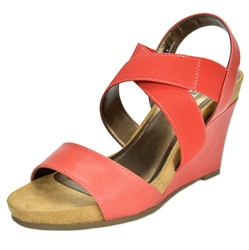 TOETOS Women's SOLSOFT-8 Coral Mid Heel Platform Wedges Sandals - 11 M US (Heel Mid Platform Slide)