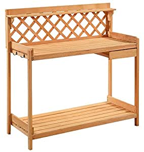 Garden Outdoor Wood Potting Bench Solid Planting Construction + eBook