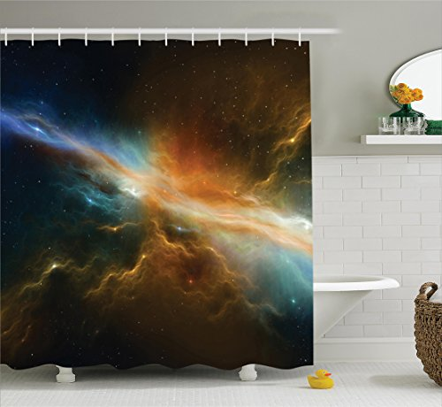 (Ambesonne Outer Space Decor Collection, Astronomy Celestial Meteorite Supernova Dark Mysterious Space Picture, Polyester Fabric Bathroom Shower Curtain, 75 Inches Long, Dark Turquoise Yellow)