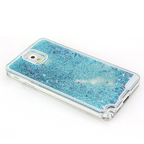 AENMIL Note 3 Glitter Case, Samsung Galaxy Note 3 Bling Cover, 3D Bling Quicksand Glitters Stars Liquid Transparent Hard Back Case Cover for Samsung Galaxy Note 3 (Blue)