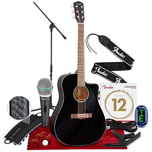 - Fender CD-60SCE Acoustic-Electric Guitar, Dreadnought Body Style, Black Finish with Stand, Tuner, Strap, Polishing Cloth and Deluxe Accessory Bundle