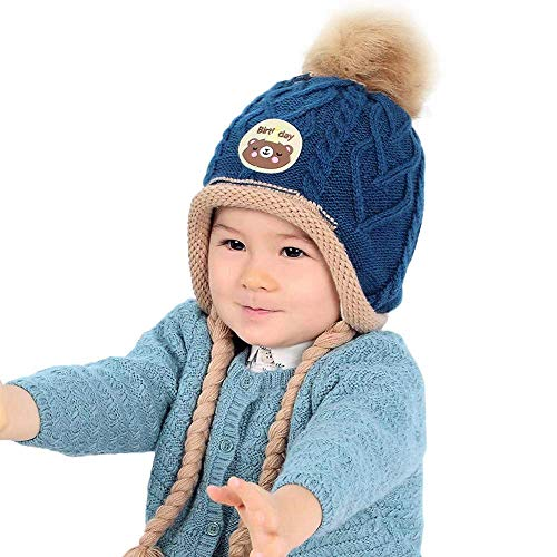 (Brilliant sun Kids Winter Hat, Baby Knit Hat, Baby Girls Boys Winter Hat, Skull Caps Blue)