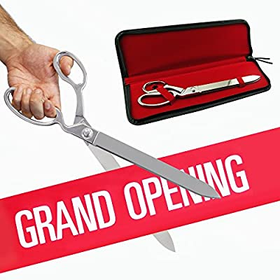 """FREE Grand Opening Ribbon with 15"""" Chrome Plated Ceremonial Ribbon Cutting Scissors and Case for Grand Openings"""