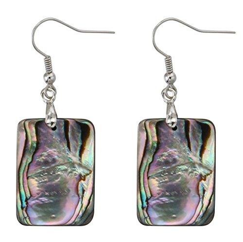 MagicYiMu Natural Double-faced Abalone Shell Rectangle Drop Dangle Hook Earrings Jewelry for Women