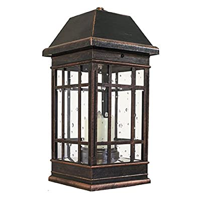 Smart Solar 3960KR1 San Rafael II Solar Mission Lantern Illuminated by 2 High Performance Warm White LEDs In The Top and One Amber LED in the Pillar Candle - Outdoor Post Lights - .com