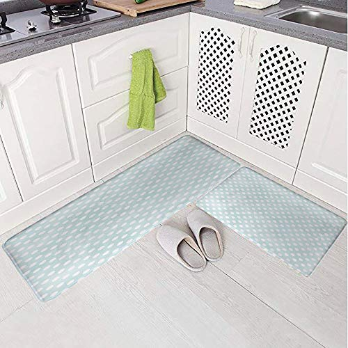 2 Piece Non-Slip Kitchen Mat Rug Set Doormat 3D Print,Dots Soft Spot Baby Colors Faded Kids Fashion,Bedroom Living Room Coffee Table Household Skin Care Carpet Window Mat,