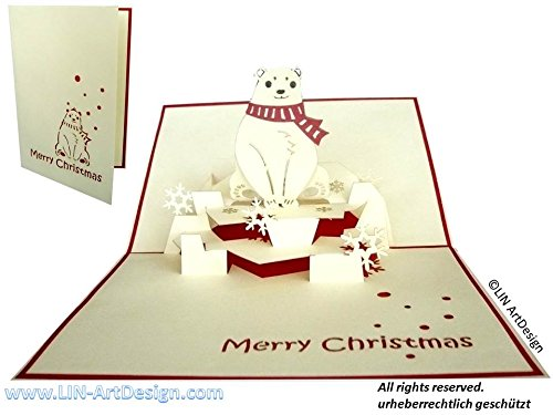 LIN Pop Up 3D Greeting Card for Christmas/X-mas, Polar Bear, - Christmas Ideas Card For Singles