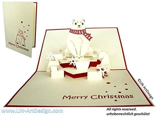 LIN Pop Up 3D Greeting Card for Christmas/X-mas, Polar Bear, - Christmas Ideas Singles For Card