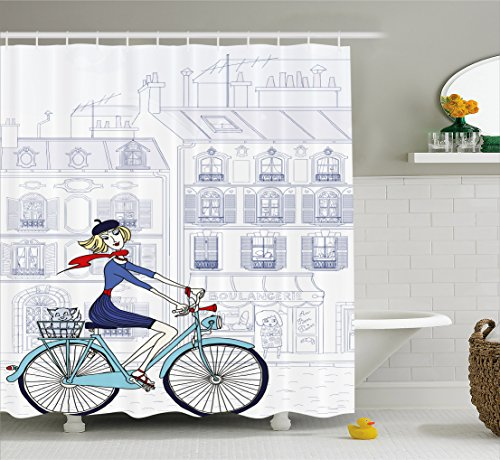 Ambesonne Paris Shower Curtain, Woman Riding a Bicycle in Paris with a Cat European French Style Illustration, Fabric Bathroom Decor Set with Hooks, 70 Inches, Blue Red and White