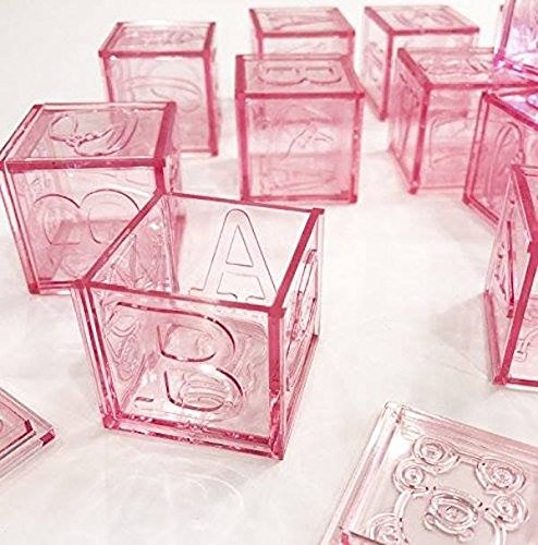 Baby Shower Pink Blocks Fillable With Lids Favor Keepsake Party Supplies 12 Ct