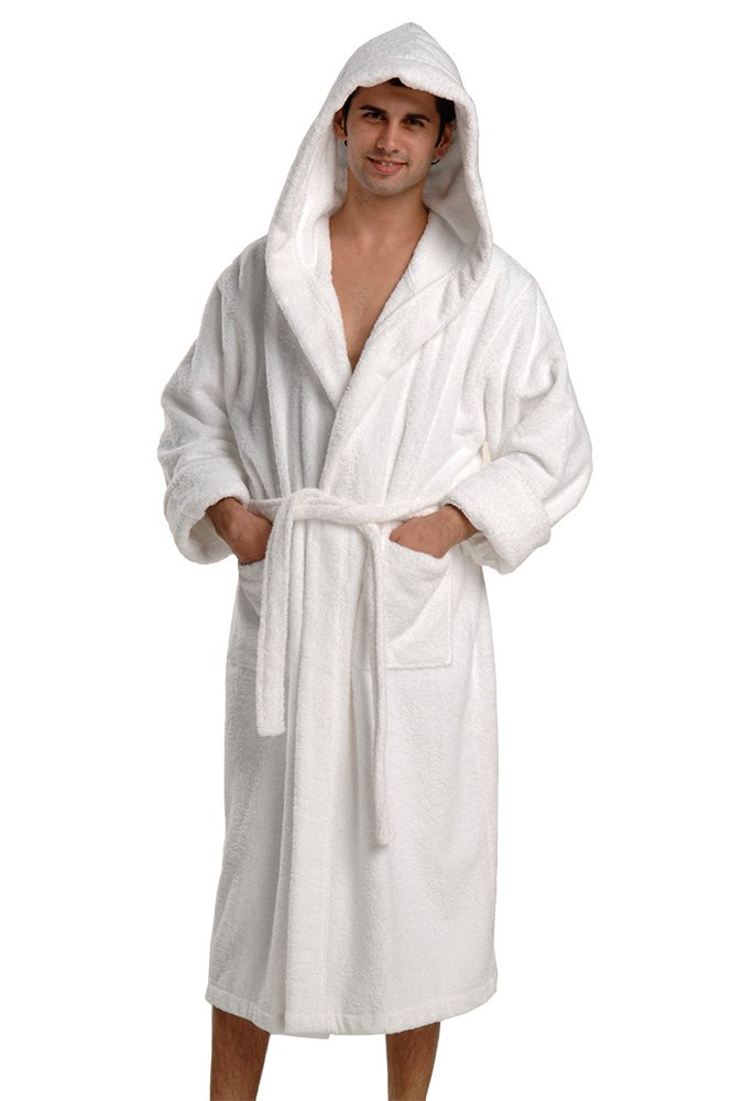 660 GSM, Original Thirsty Towels robe, Turkish Cotton Robe Hooded Luxury Bathrobe for Men and Women (L/XL, WHITE)