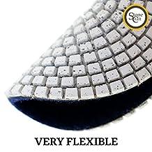 "Stonecraft TM professional grade Diamond Polishing Pads 4"" inch Wet Dry use Set with Metal Bond pads #50 100 200 400 White Buff & 5/8"" thread arbor Backer Pad for Marble Granite Concrete"