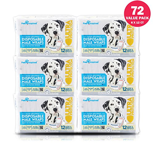 Paw Inspired Ultra Protection Disposable Male Wraps (Belly Bands) (72 Count, Large)