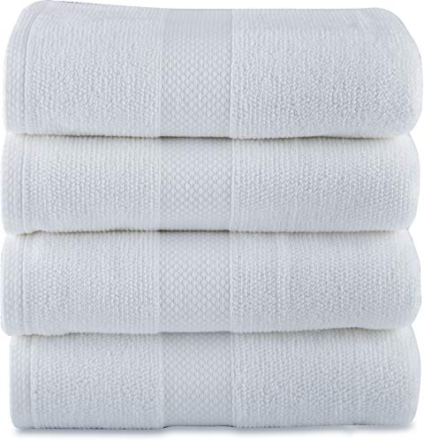 Maura Premium 100% Cotton 27x54 Ultra Absorbent Quick Dry 4 Pack Soft White Terry Bath Towels Set for Bathroom, Hotel and Spa Quality. (Bath Towel - Set of 4, White)