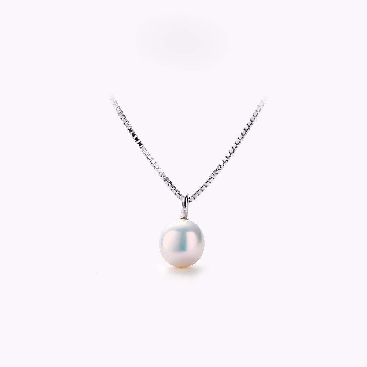 Silvery KUNQ gift Natural Freshwater Pearl Necklace Lady Temperament Lady 925 Silver Clavicle Chain Simple Near Circle Pendant