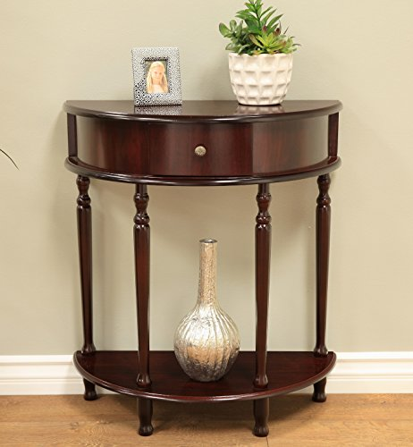 Living Room Round Console Table - Frenchi Home Furnishing Espresso Finish End/Side Table