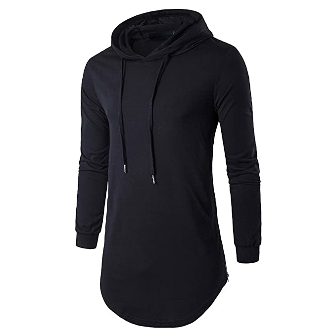 74f0ed33a585 semen Men Classic Hip Hop Long Sleeve Hoodie T-Shirt Casual Slim Longline  Tops Blouse Sweatshirt Gym Plain Pullover  Amazon.co.uk  Clothing