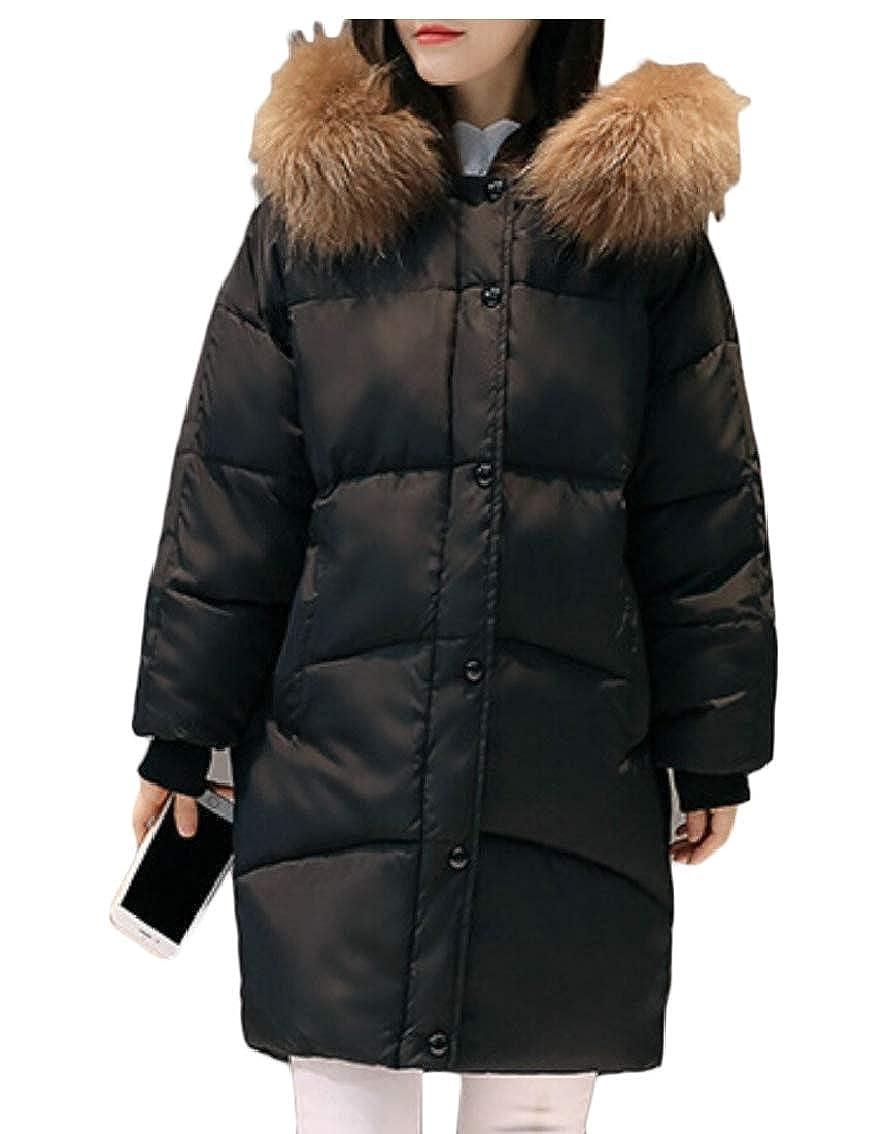 Black Keaac Women Thicker Casual Slim Down Jacket Long Sleeve Winter Coat