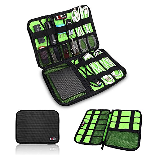 BUBM Universal Cable Organizer Electronics Accessories Case Various USB, Phone, Charge, Cable Organizer Travel Organizer-Large (Black)