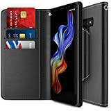 Galaxy Note 9 Case, Maxboost [Folio Style] Wallet Case for Samsung Galaxy Note 9 [Stand Feature] (Black) Protective PU Leather Flip Cover with Credit Card Slot+Side Cash Pocket+Magnetic Clasp Closure