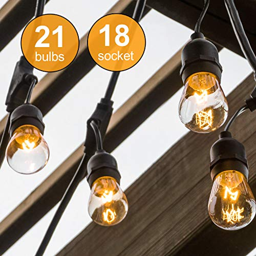 Amico 2 Pack 52FT Outdoor String Lights: Commercial Grade Weatherproof Yard Lights, 11W Dimmable Incandescent Bulbs, UL Listed Heavy-Duty Decorative Patio Bistro Market Café Lights by Amico (Image #1)