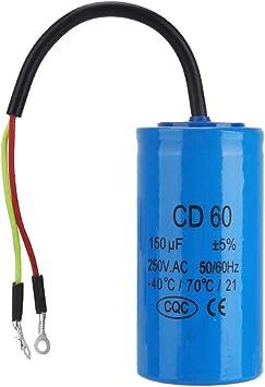 Condensador CD60 150uF con 250VAC 50 / 60Hz Conductor Cable para compresor de aire del motor: Amazon.es: Bricolaje y herramientas